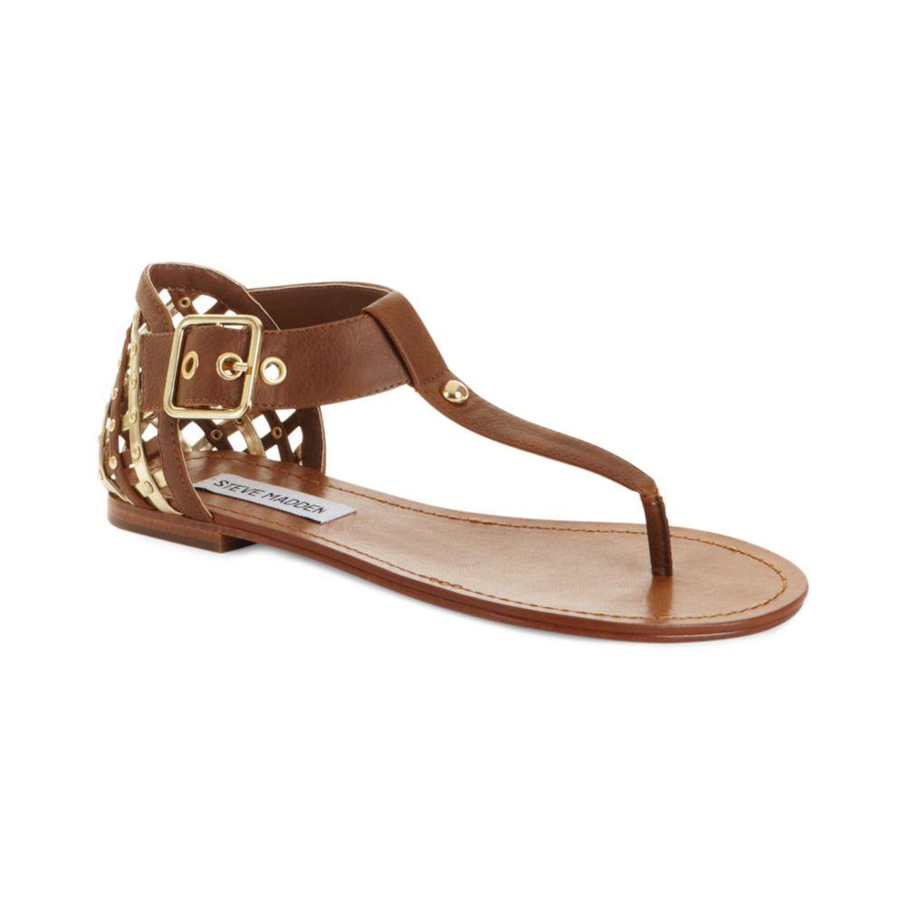Lyst - Steve Madden Sutttle Flat Sandals in Brown