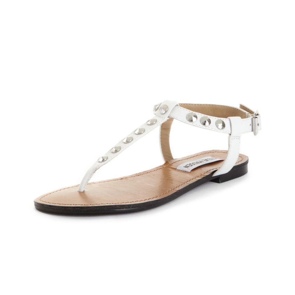 846ceda77eda Lyst steve madden virrtue flat sandals in white jpg 1000x1000 Steve madden  white wedges