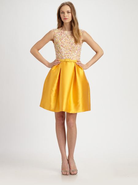 Theia Sequined Satin Dress in Yellow (saffron) - Lyst