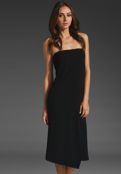 Tibi Matte Strapless Dress in Black - Lyst