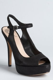 Vince Camuto Black Leather Merkina Peep Toe Ankle Strap Pumps - Lyst