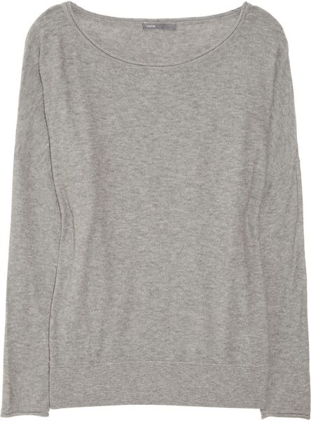 Vince Cotton Slub Jersey Sweater in Gray - Lyst