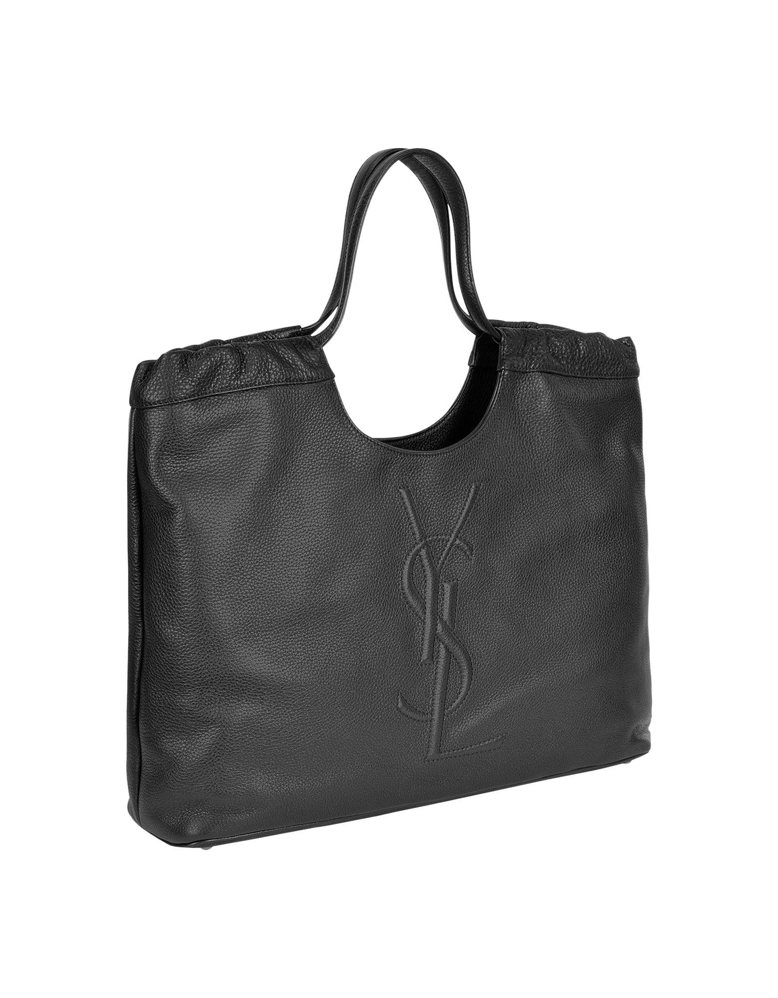 Saint laurent Belle Du Jour Logo Leather Tote Bag in Black | Lyst