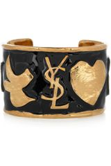 Yves Saint Laurent Ycons Enameled Gold-Plated Cuff - Lyst