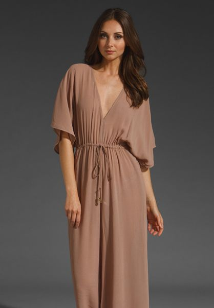 Zimmermann Drawstring Plunge Jumpsuit in Brown (hazelnut) - Lyst