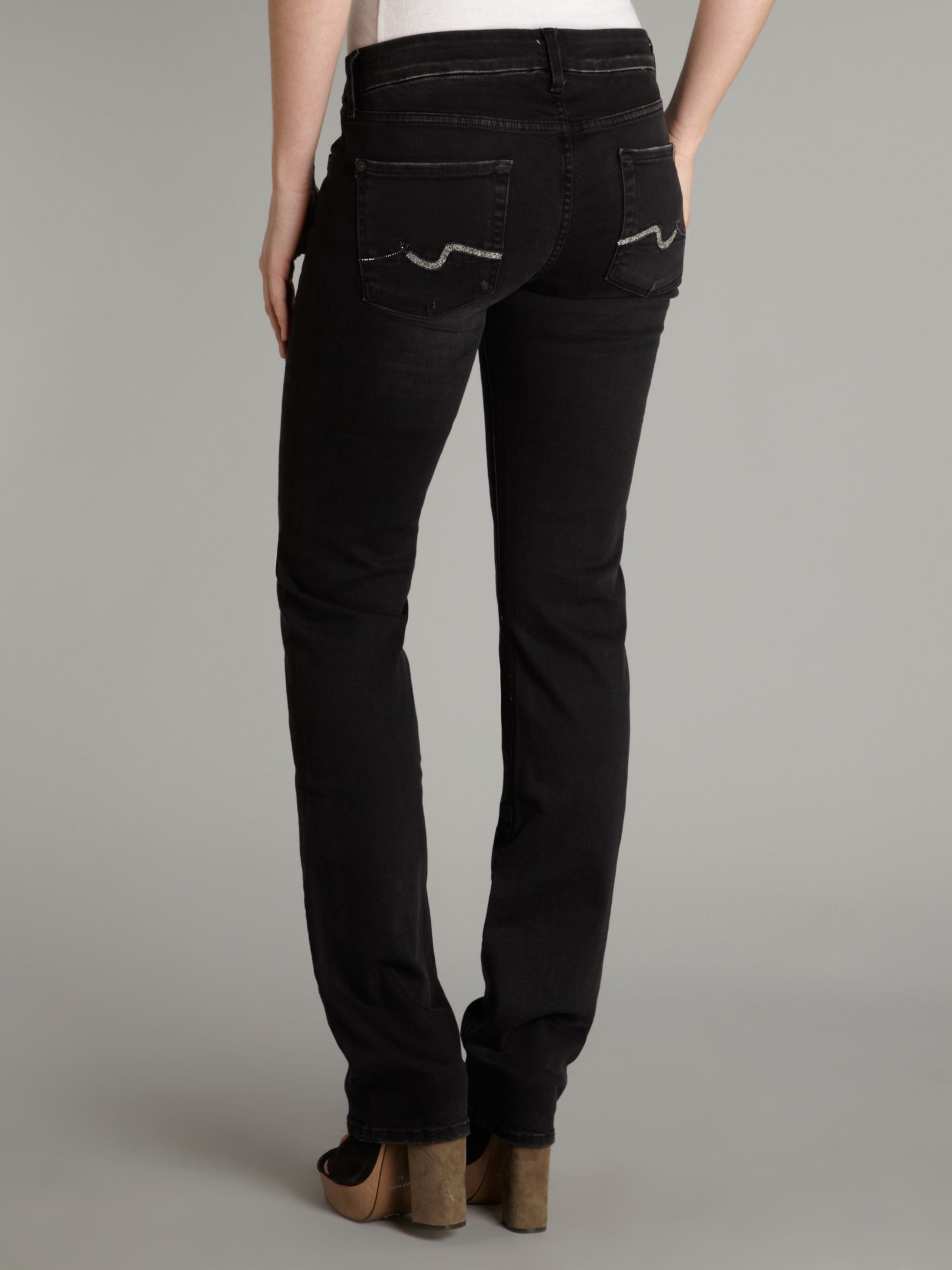 7 for all mankind Kimmie Straight Leg Jeans in Black | Lyst