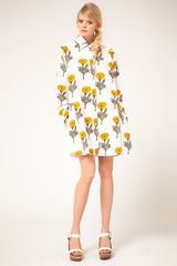 Ashish Ashish Shirt Dress in Marigold Print in Beige (cream) - Lyst