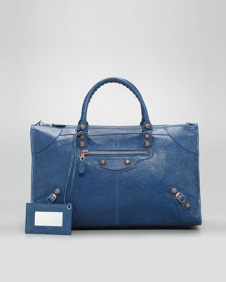 Balenciaga Giant 12 Rose Golden Work Bag Blue Cobalt in Blue (blue ...