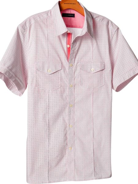 Banana Republic Shortsleeve Microprint Utility Shirt in Red for Men (carmine red)