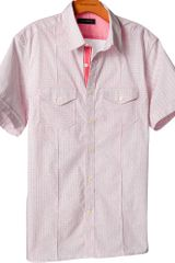 Banana Republic Shortsleeve Microprint Utility Shirt in Red for Men (carmine red) - Lyst