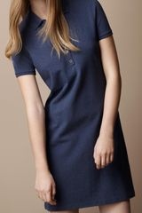 Burberry Brit Cotton Pique Polo Dress in Blue (indigo mélange) - Lyst