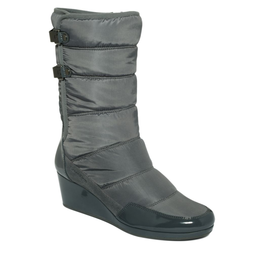 calvin klein pamelia cold weather wedge boots in gray