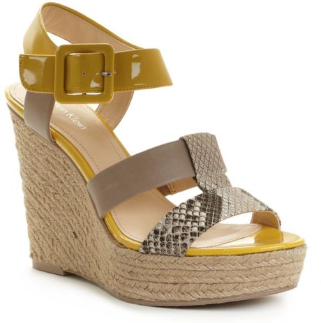 Calvin Klein Elison High Wedge Espadrilles in Gray (lt taupe/yellow) - Lyst