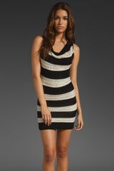 Cut25 Open Knit Mesh Stripe Dress in Blackoptic in Black (black & optic) - Lyst