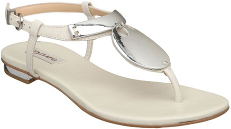 Dune Fifi Metal Trim Flat Sandals in Beige (white) - Lyst