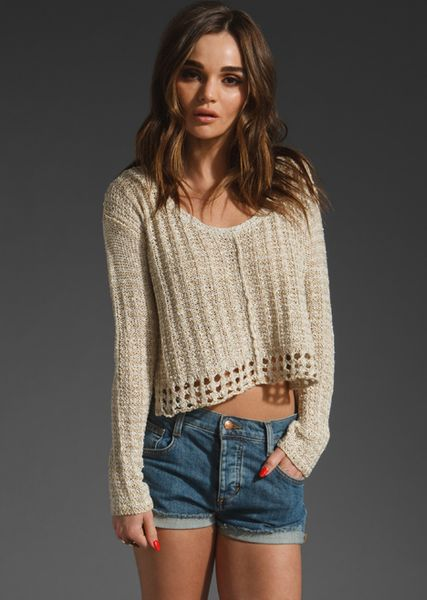 Free People Natal Pullover in Gray (stone combo) - Lyst