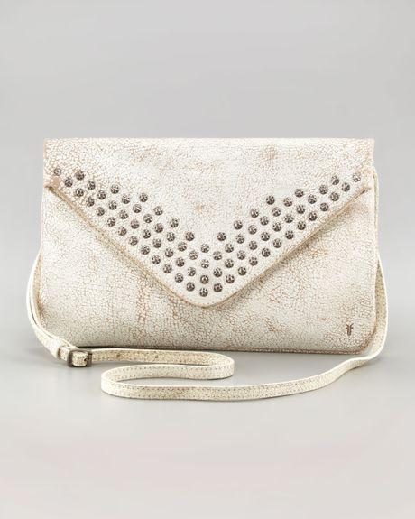 Frye Brooke Stud Envelope Clutch White in Beige (white) - Lyst