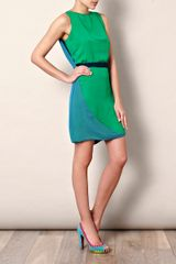 Halston Heritage Cape Colourblock Dress in Green - Lyst