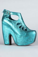 Jeffrey Campbell The Cuffed Shoe in Teal Metallic - Lyst