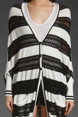 L.a.m.b. Runway Crochet Stripe Cardigan in Whiteblack in Black (white & black) - Lyst