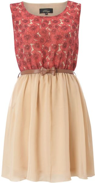 Madam Rage Madam Rage Vintage Bow Belt Dress in Beige - Lyst