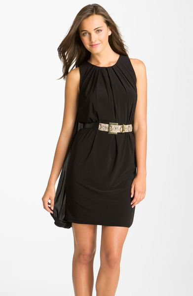 maggy cape back belted shift dress in black lyst