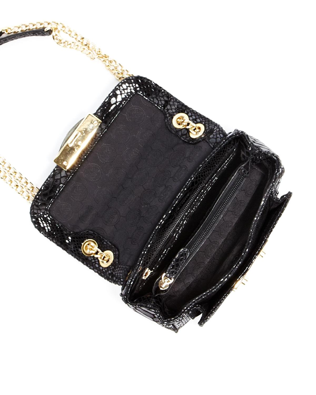 Michael Michael Kors Black Patent Python Small Sloan Shoulder Flap Bag 82