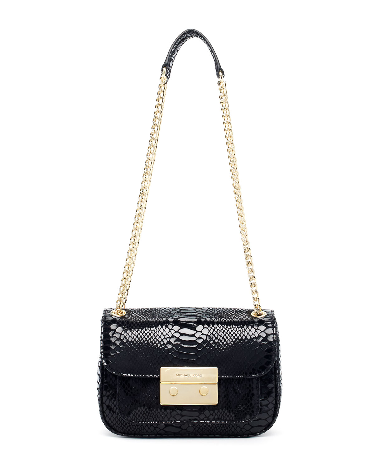 495a70aaf0d7 Michael Kors Sloan Small Pythonembossed Shoulder Bag in Black - Lyst