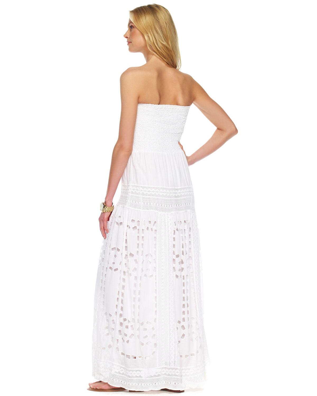 2b7d956c57e7 Raga Simplicity Eyelet Sleeveless Maxi Dress in White , Lyst