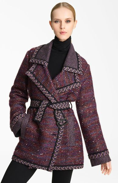 Missoni Belted Tweed Coat in Brown (burgundy)