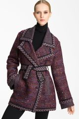Missoni Belted Tweed Coat in Brown (burgundy) - Lyst