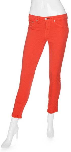 Rag & Bone Exclusive Midrise Ankle Zipper Skinny Coral in Pink (coral) - Lyst