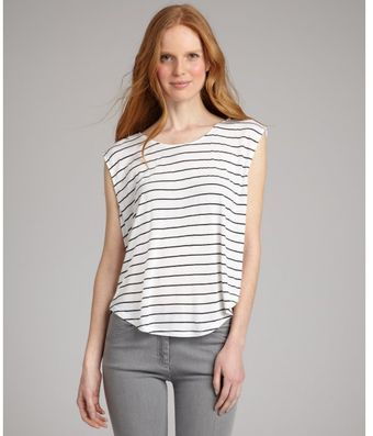 Rebecca Beeson White Striped Cotton Blend Lucie Boxy Tank - Lyst