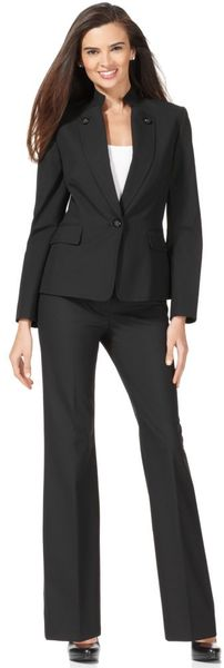 Tahari Stand Collar Buttoned Lapel Jacket in Black - Lyst