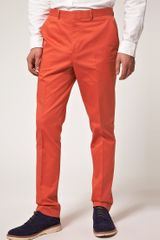Asos Slim Fit Smart Trousers in Coral in Pink for Men (coral) - Lyst