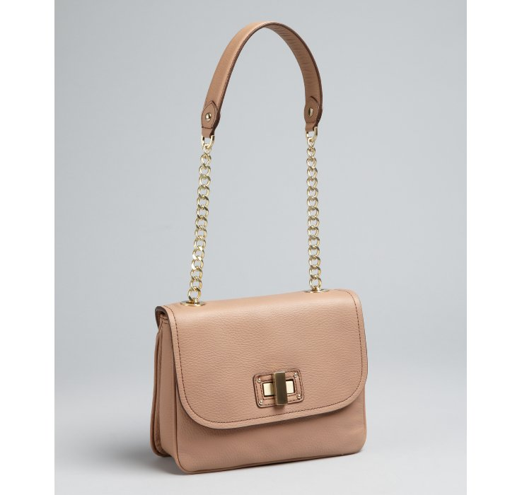 Bcbgmaxazria Nude Pebbled Leather Chain Handle Shoulder Bag in ...