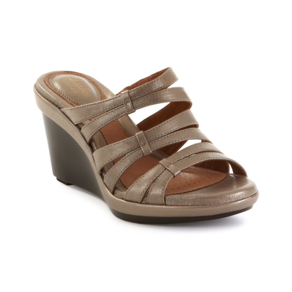 Lyst Clarks Artisan Seta Trill Wedge Sandals In Natural