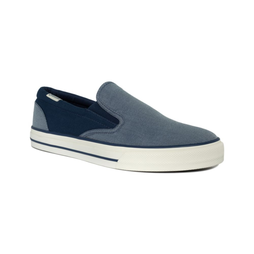 converse skid grip slip on sneakers in blue for men dark. Black Bedroom Furniture Sets. Home Design Ideas