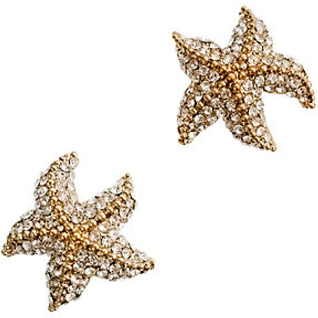 J.crew Crystal Starfish Earrings in Gold (crystal) - Lyst