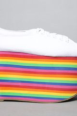 Jeffrey Campbell The Sporty Shoe in White Fabric and Rainbow in Multicolor (white) - Lyst