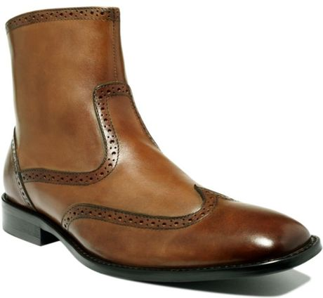 Johnston & Murphy Knowland Wing Tip Side Zip Boots in Brown for Men