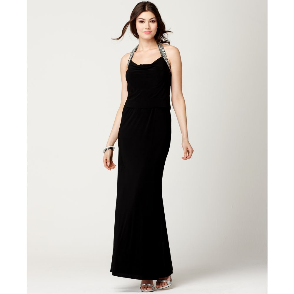 js boutique sleeveless beaded halter evening gown in black