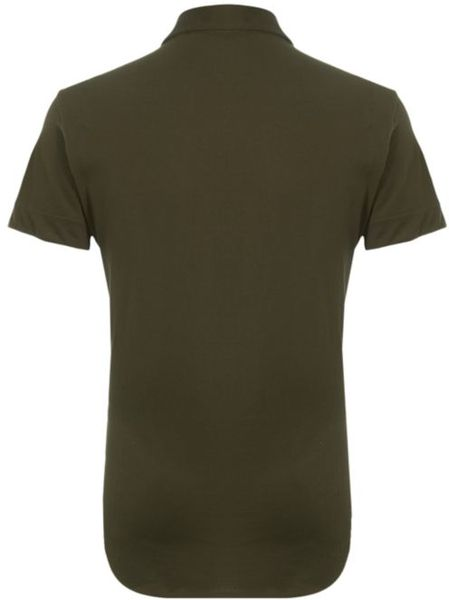 Just cavalli half button up polo shirt in khaki for men lyst for Womens button up polo shirts