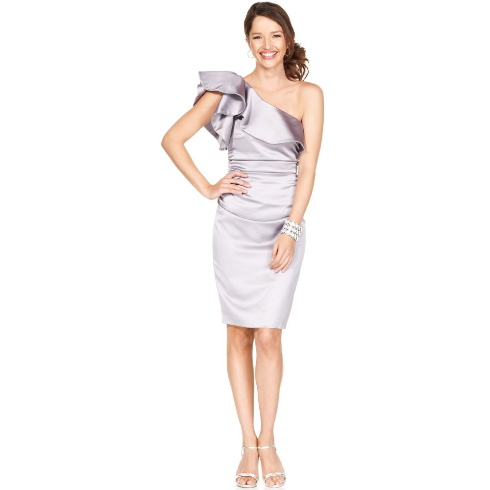6fe32a514a1 Lyst - Maggy London Sleeveless One Shoulder Ruffled Ruched Satin ...