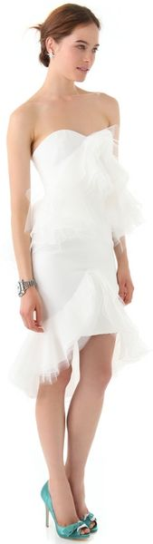 Marchesa Strapless Dress with Tulle Ruffles in White - Lyst