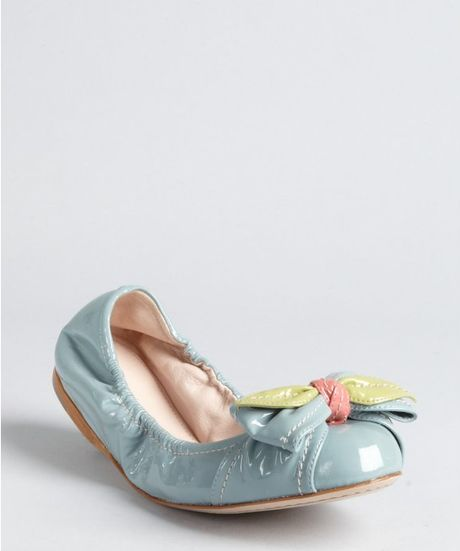 Miu Miu Light Blue Patent Leather Rose Bow Ballet Flats in Blue - Lyst