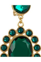 Miu Miu Crystal Clip Earrings in Green (gold) - Lyst