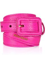 Miu Miu Stringrayeffect Leather Skinny Belt - Lyst