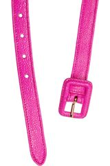 Miu Miu Stringrayeffect Leather Skinny Belt in Pink - Lyst