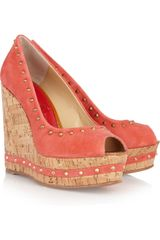 Paloma Barceló Menorca Studded Suede and Cork Wedge Sandals in Pink (gold) - Lyst
